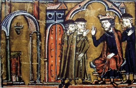 """Balduino II de Jerusalén cede el Templo de Salomón a Hugo de Payens y Godofredo de Saint-Omer. """"Histoire d'Outre-Mer"""", Guillaume de Tyr, siglo XII"""