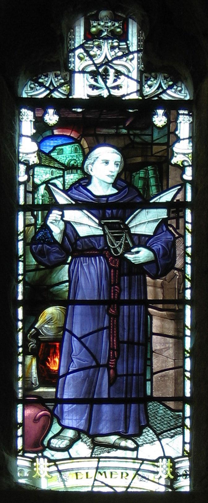 Vidriera dedicada a Eilmer en la abadía de Malmesbury
